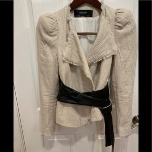 Zara Basic Blazer removable faux leather belt S